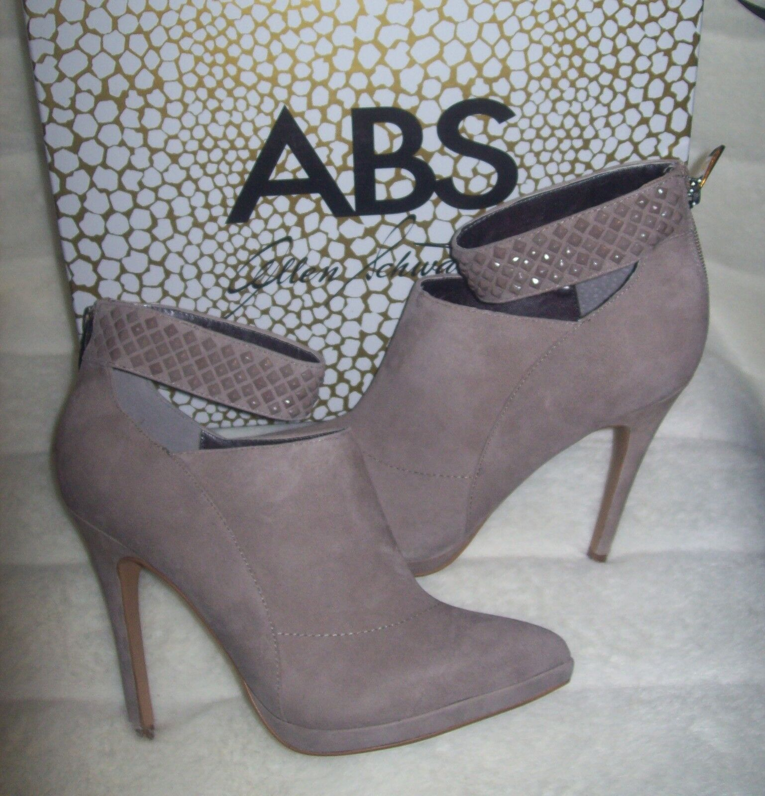 ABS by Allen Schwartz LENNA BOOTIE taupe STUDDED ANKLE STRAP boots 8.5 NEW