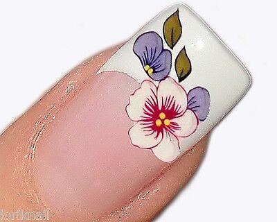 Nailart Sticker Aufkleber für Nageldesign Sommerblumen in Weiß und Flieder Nr 41
