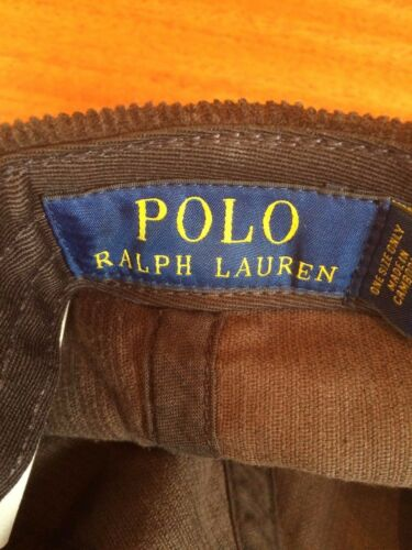 NWT POLO RALPH LAUREN COUNTRY OUTDOOR 6 PANEL PATCH CAP BROWN CORDUROY HAT