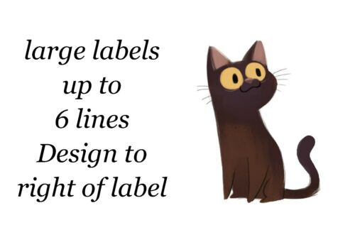 Cat Small or Large Sticky White Paper Stickers Labels NEW