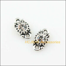 12 New Charms Mixed Crystal Flower Round Pendants Gold Plated 8.5x13mm