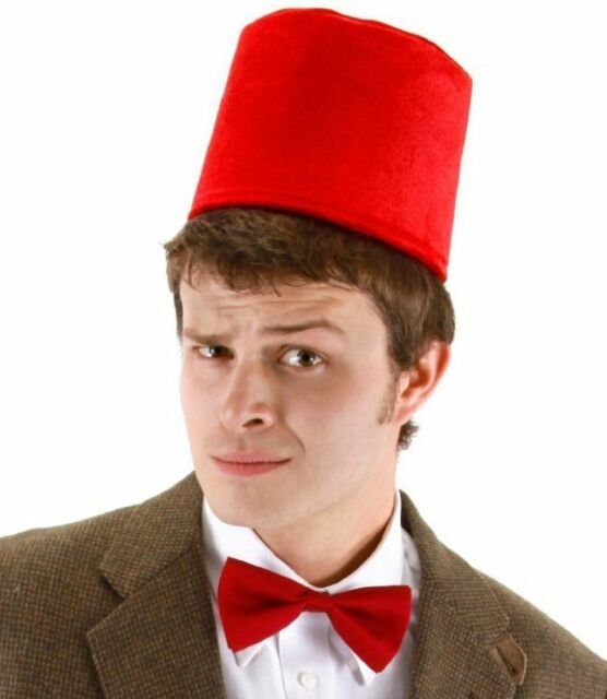 47eadcafc Dr Doctor Who Fez Hat Bow Tie Set 11th Costume Matt Smith Red BBC LICENSED  USA