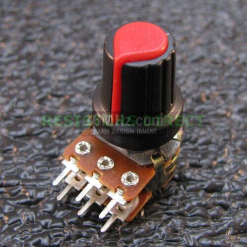 6x 1K OHM Linear Taper Dual Gang Rotary Potentiometers B1K Black Knobs 6pcs U36