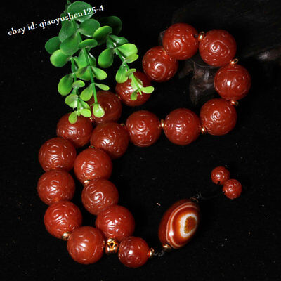 Collection China natural Fine carving Beads old red agate Ruyi Bracelets