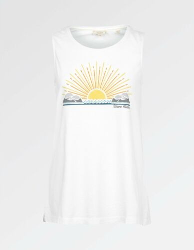 White 100/% Cotton Women/'s Wave Riders Tank BNWT Fat Face