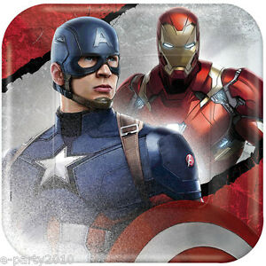 Captain America Civil War Large Paper Plates 8 Birthday Party