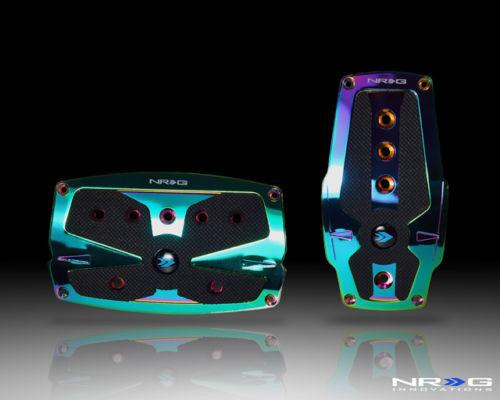 NRG Neochrome Aluminum Sport Pedals & Black Rubber Inserts Universal Auto Trans