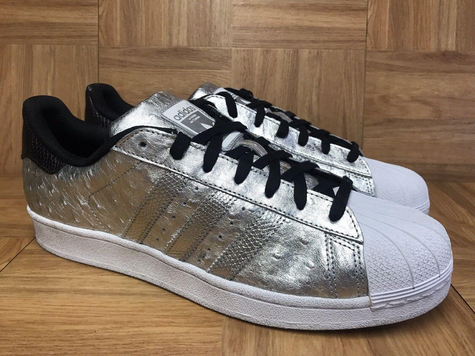 RARE Adidas Originals Superstar Metallic Silver Foil Ostrich Sz 11 Men's shoes