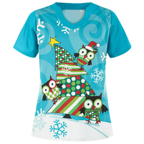 Details about  /Medical Nursing Uniform for Women Christmas Flowers Fashion Scrubs Solid Printed