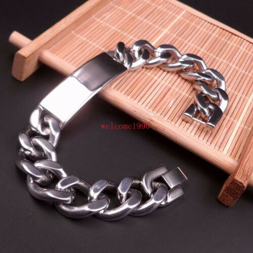 Large Stainless Steel Silver Curb Chain Casting ID Bracelet men Jewelry 15mm 9/'/'