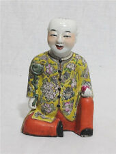 Chinese  Famille  Rose  Porcelain  Statue  Of  Seated   Boy   M56