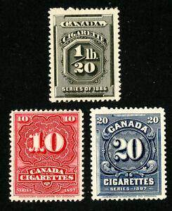 Canada-Stamps-3-Unused-1897-Cigarette-Revenues