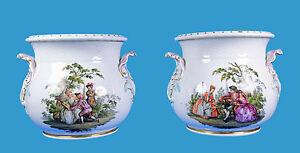 Paar-Cachepots-039-Watteau-Szenen-039-Augustus-Rex-Marke-Helena-Wolfsohn-Dresden-1880