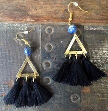 Anthropologie Black Tassel Triangle Brass Lapis Lazuli Gold Hook Dangle Earrings