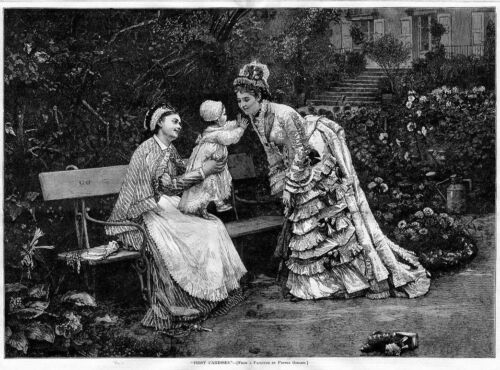 BABY AND MOTHER ON BENCH FIRST CARESSES ANTIQUE DRESS