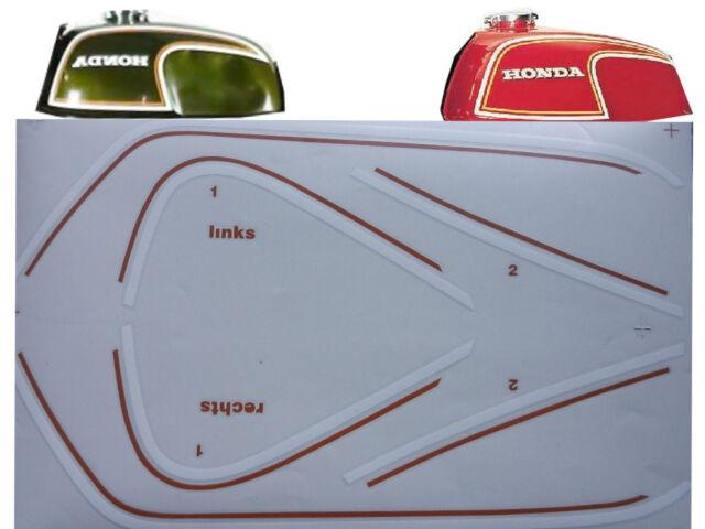 Honda CB 350 Four Tankzierstreifen Tank Dekor Weiß Orange Flake Matador Red