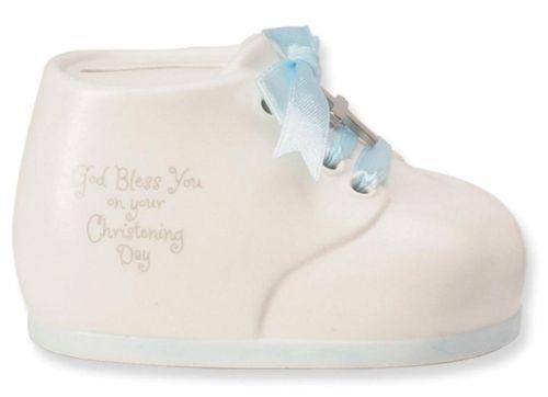 New 146953 Baby Boy Christening China Money Bank Shoe