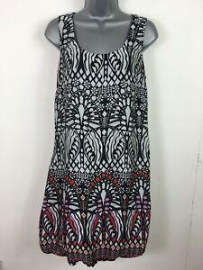 WOMENS-RONIT-ZILKHA-BLACK-WHITE-RED-PURPLE-PATTERNED-SLEEVELESS-SHIFT-DRESS-UK12