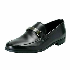 Prada-Men-039-s-Leather-Black-Loafers-Slip-Ons-Shoes-US-10-IT-9-EU-43