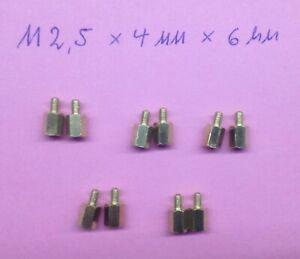 10 Stk. Messing Abstandshalter M2,5 x 6mm - Raspberry Pi / Modelbau / Computer