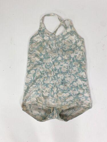 VTG 1930s 40s Floral Satin Swimsuit Bathing Suit A