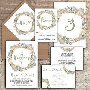 Personalised Luxury Rustic Wedding Invitations GREY /& BLUE FEATHER WREATH PK 10