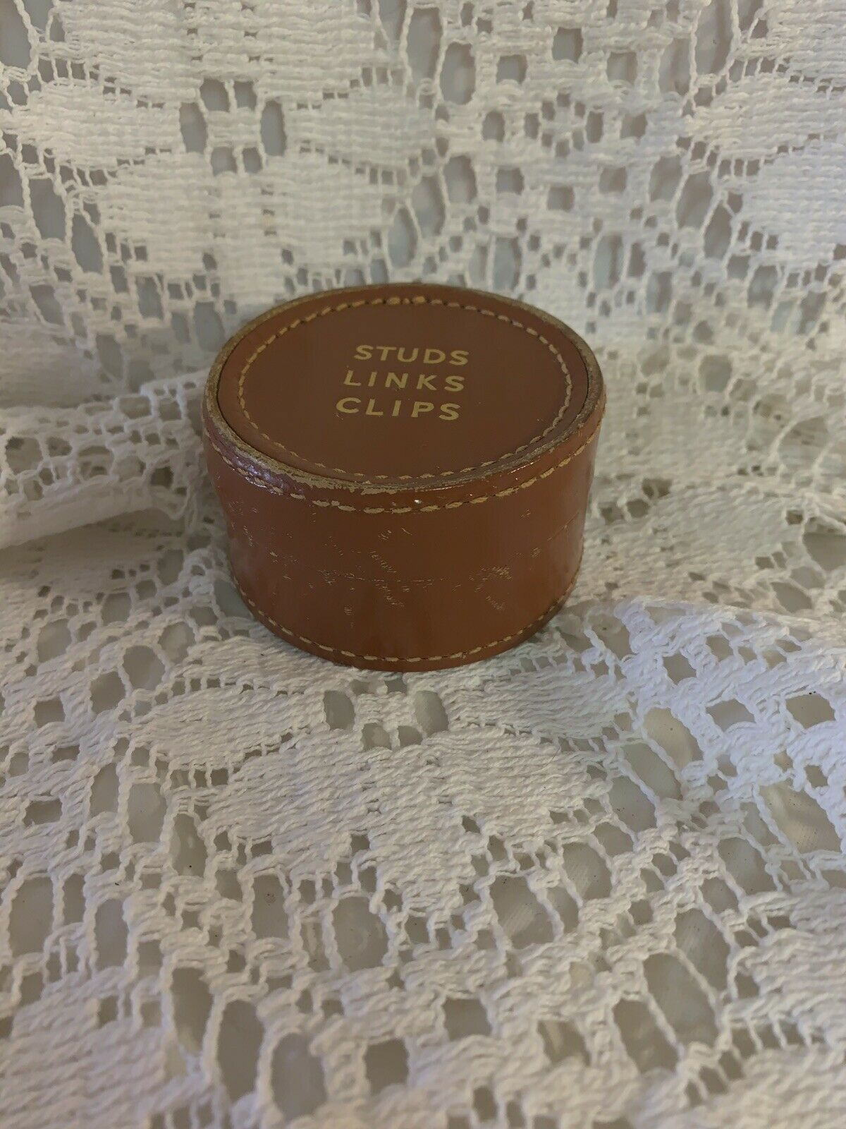 Leather 'Studs Links Clips' Lidded Pot Made In England Vintage Retro Useful