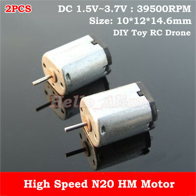 2PCS N20 DC 3.7V 30000RPM High Speed Mini 10mm*12mm Motor DIY RC Drone Aircraft