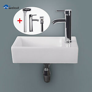 Bathroom Ceramic Vessel Sink Wall Mount Vanity Rectangle Basin W Chrome Fauc