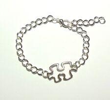 Autism Awareness Puzzle Piece Charm Bracelet Silver Adjustable Jewelry Aspergers