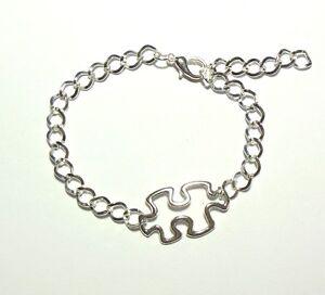 Image Is Loading Autism Awareness Puzzle Piece Charm Bracelet Silver Adjule