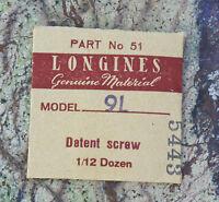 Vintage Longines 9l Watch Detent Screw Swiss Part In Original Packaging
