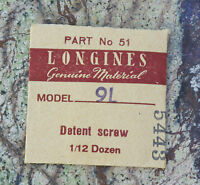 Vintage Longines 9l Watch Detent Screw Swiss Part In Original Packaging