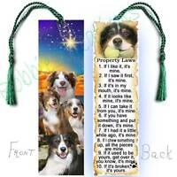 Australian Shepherd Bookmark 6 Large Dog Rules Property Laws-book Mark Art Card