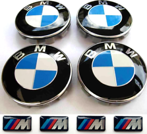 4X-BMW-Wheel-Centre-Caps-4x-M-Stickers-Emblem-Fits-Most-1-3-5-7-Series-68mm