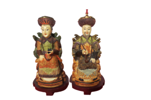 "Set Of 2 Mandarin Chinese Resin Figurines Man Woman 10"" Tall"