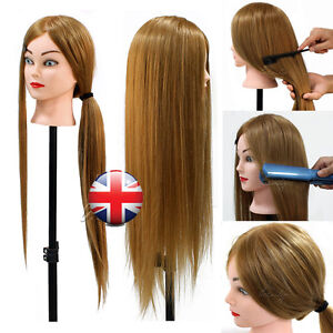 mannequin hair styling heads 26 quot 80 real human hair hairdressing styling 3779