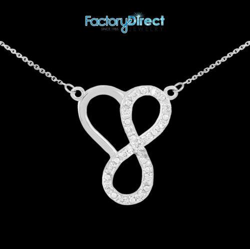 Sterling Silver Infinity Heart Necklace with 15 CZ