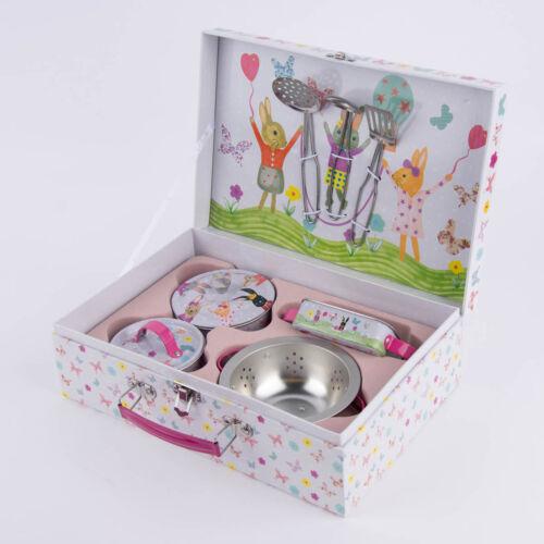 Muñecas vajilla niños Mini küchenset liebres metal gris rosa 29x19x10cm