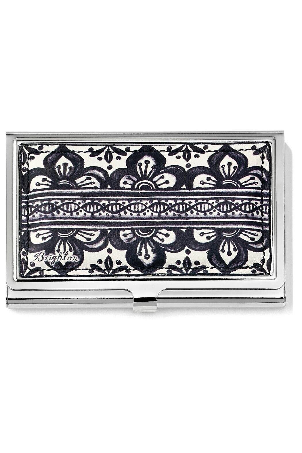 Brighton CASABLANCA White Black Leather Metal Card Case Holder
