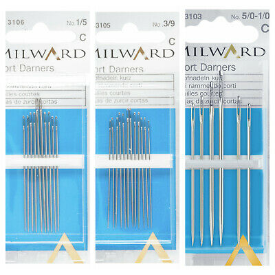 Premium Quality Milward Assorted Short Darner Hand Sewing Needles 10 Pack Size