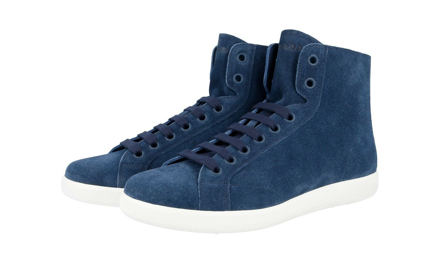 AUTH PRADA HIGH TOP SNEAKERS SHOES 4T3149 blueE SUEDE NEW 8,5 42,5 43