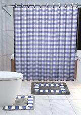Striped3 15-Pc Bathroom Accessories Set Rugs Shower Curtain Bath Purple & White