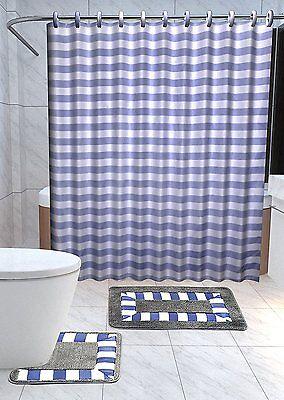 Laurel 15-Pc Bathroom Accessories Set Rugs Shower Curtain Bath Brown /& Green