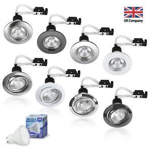 6-x-LED-GU10-240V-Mains-Fixed-or-Tilt-Recessed-Ceiling-Spotlights-Downlights-NEW