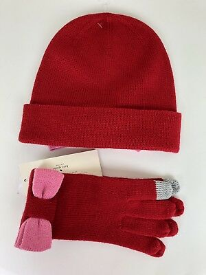 9926b50b70cf9 Kate Spade Women Beanie Hat gloves with Colorblock Bow Red. Valentine s Day  gift
