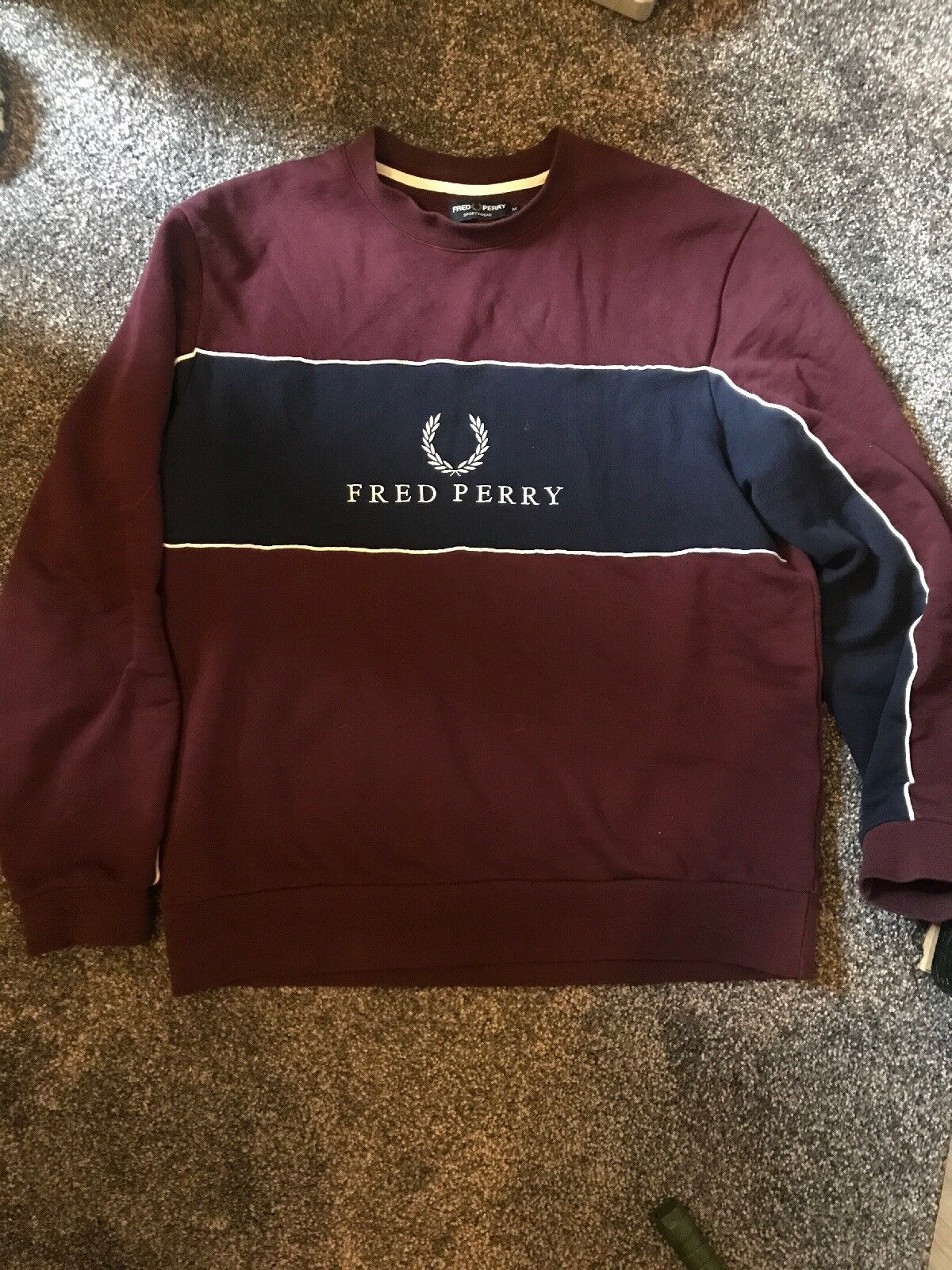 Fred Perry Original Burgandy And Navy Sportswear Jumper
