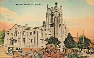 WESTFIELD-NEW-JERSEY-METHODIST-CHURCH-MAYROSE-TINTED-PHOTO-1940s-POSTCARD