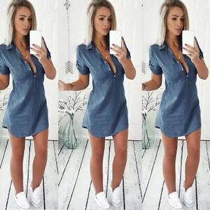 Fashion-Femmes-moulante-Slim-Denim-Casual-Beach-court-mini-robe-Tops
