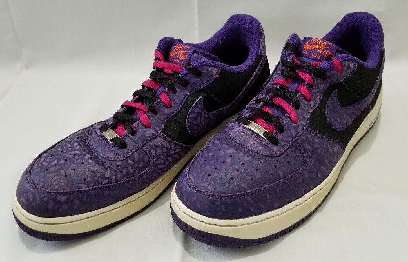 Hombre sz 14 Tribunal purpura Air negro 2018 Nike Air purpura Force 1 temporada sneakers de cuero 488298-025 despacho venta e89142